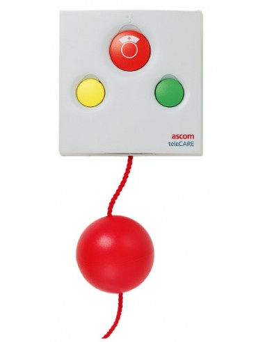 Tirette d'appel et d'annulation avec cordon, 1 bouton rouge avec symbole infirmière + 1 voyant, 1 bouton vert + 1 voyant, 1 bout